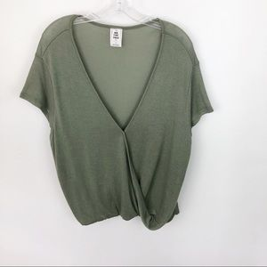 We The Free Drapey Faux Wrap Sweater Top Green
